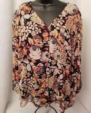 Requirements Womens Plus Multi Color Floral w/ Cami Button Down Shirt Top Sz 1X