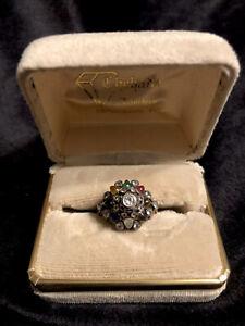 Vintage Antique Thai princess 14K gold gemstones cabochon ring size 6