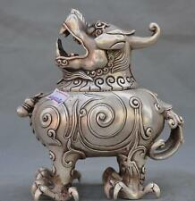 Marked Old Chinese Folk Pure Silver Lion Beast Statue Incense Burner Censer