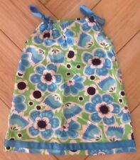 Hanna Andersson Dress Sz 100 4 Floral Blue Bows Tank Sundress Cotton Flowers