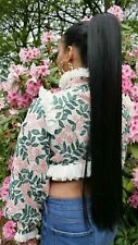 "Extra long 30"" silky straight drawstring ponytail hairpiece Black Blonde Brown"
