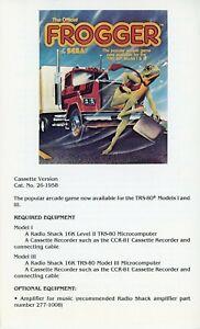 Radio Shack TRS-80 Frogger Manual