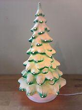 """Vintage UNION Blow Mold 21"""" Hard Plastic Christmas Tree - Works!"""