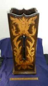 Antique Arts & Craft Black Forest Pyrography Umbrella Stand Cane Northwind Face!