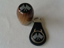 CLASSIC WOOD GEAR KNOB WITH CROSS FLAG LOGO AND MATCHING LEATHER KEY FOB*NEW*