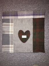 "Patch Woolly Grey Check Harris Heart Panel Cushion Cover 17"" Quirky Faux Suede R"