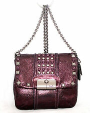 COACH Purple Eggplant Snake Embossed Leather Studded Flap Crossbody Chain Strap