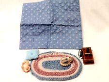 Vintage Dollhouse Miniature Furniture Braided Rug w Fagan Cats + Pillow /Blanket