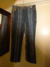 Tribal Stretch Extensible Jeans Blue Tan White Denim Jeans Pants Size 12