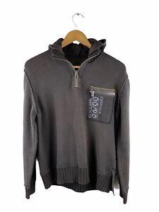River Island 1/4 Zip Logo Jumper Men Size S Brown Long Sleeve Knit Pocket Hooded