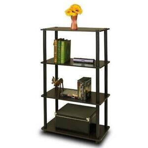 Furinno Turn-N-Tube 4-Tier Multipurpose Shelf Display Rack; Espresso & Black