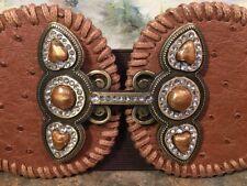 Chicos Belt Jeweled Buckle Design  Ostrich Print Bronze Brown Stretch Belt Bling