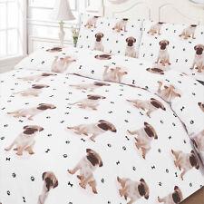 CARLINO Cucciolo Animal Copripiumino Con Federa Set di biancheria da letto BIANCO KING SIZE