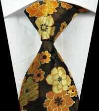 New Classic Floral Brown Gold Beige JACQUARD WOVEN 100% Silk Men's Tie Necktie