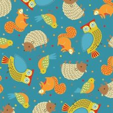 "Quilting Treasures Camp Cozy Light Denim Animal Toss Cotton Fabric ByTheYd 44"" W"