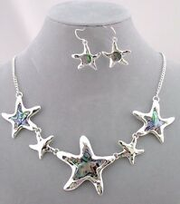Starfish Necklace Set Silver Abalone Shell Fashion Jewelry NEW Ocean Nautical