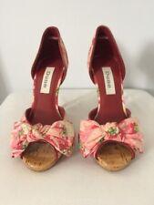 Beautiful DUNE Floral Peep Toe Stiletto Heels Bow Studs Occasion  ~UK 3~ NWOB
