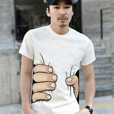 Funny Summer 3D Men Round Neck Short Sleeve Big Hand Printed Cotton T-shirt Tee