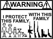 "WARNING STICK FAMILY GUN Vinyl Decal Sticker-6"" Wide White Color"