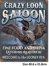 Welcome To The Looney Bin - Crazy Loon Saloon Funny  Metal Tin Sign 1673