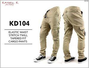 KAYDEN.K Men's Elastic Waist Stretch Twill Tapered Fit Cargo Pants