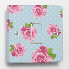 Blue Shabby Chic & Roses Light Switch Sticker to fit Crabtree 1-gang way CB 4070