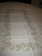 Rectangular Tablecloth Formal Cross Stitch Beige Pewter Custom Made 68x84 ON SAL