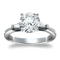 1 Round Cut Diamond Solitaire Engagement Ring VS2 H 14K White Gold