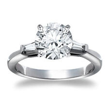 1 Round Cut Diamond Solitaire Engagement Ring SI D 14K White Gold
