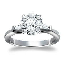 1 CT ROUND CUT DIAMOND ENGAGEMENT RING VS D 14k WHITE GOLD