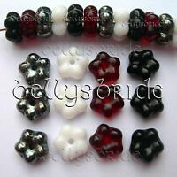Czech Glass Beads for Jewellery Making Flower Spacer Beads 6-7mm Pack of 20