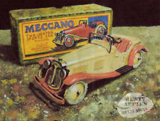 MECCANO TOY CAR AND BOX VINTAGE BYGONE TIMES  SCENE  METAL SIGN HOME DECOR
