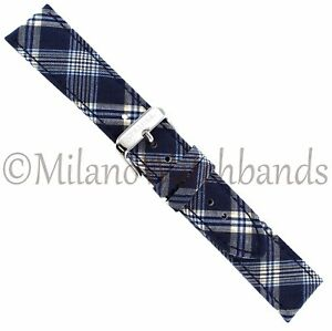 20mm Speidel Blue Plaid Textile Genuine Leather Padded Stitched Mens Watch Band