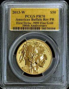 2013 W GOLD 1oz REVERSE $50 AMERICAN BUFFALO GOLD LABEL PCGS REVERSE PROOF 70