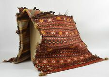 Vintage Turkish Tribal KILIM RUG Handmade SADDLEBAGS Horse Hair Tassels 23 x 47""