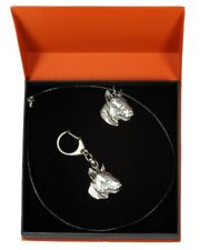 Bull Terrier 3 - silver covered keyring, pendant, set with dog, Art Dog type 2