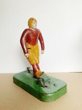 Woolsey 1930 Antique Painted Cast Iron Football Kicker Toy Mechanical Vintage