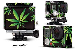 Skin Stickers for GoPro Hero 3+ Camera & Case Decal HERO3+ Go Pro WEEDS BLACK
