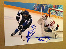 Florence Schelling & Michelle Karvinen SIGNED 4x6 photo WOMEN'S HOCKEY OLYMPICS