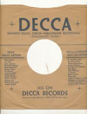 78 RPM Company logo sleeves-Post-War-DECCA  imported artists