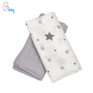 New 2 pack Baby Muslin Cloth Swaddle Wrap Blanket Cover Reusable Bibs Wipes Gift