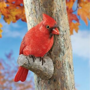 3-Dimensional Textured Cardinal Perched On Branch Tree Hanging Garden Statue