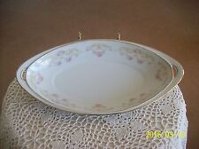 Hermann Ohme Porcelain Oblong Celery Dish Delicate Rose Scroll Ribbon Germany