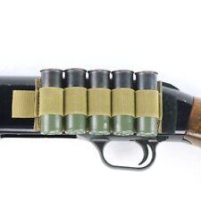 Tan Elastic Shotgun Shot Card Velcro® and Adhesive Side Saddle for 5 Shells