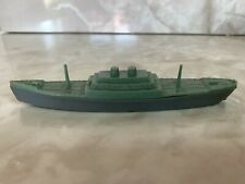 Vintage Plastic Toy Merchant Marine Cargo Ship - Green Deck And Gray Hull