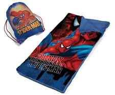 Sleeping Slumber Mat Marvel Spiderman Super Hero Carry Bag Kids Boy Bedtime New