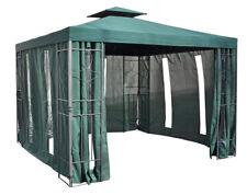 Pavillon 4 Seitenteile Partyzelt Gartenzelt Seitenwände grün mit Fenster ca3x3m