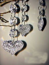 30PCS Heart  Acrylic Crystal Beads Garland Chandelier Wedding Party Decor Hang