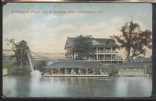 Postcard Indianapolis Indiana/In Riverside Amusement Park Canoe Club House 1907