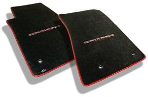 NEW! Ebony Floor mats 2010-2015 Camaro Embroidered in Red with red binding Set 2